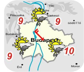 Budapest és környékének idõjárási térképe